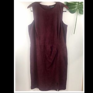 Ralph Lauren Side Ruched Burgandy Dress. Size 14.